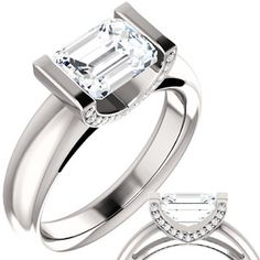 Emerald cut Moissanite & Diamond East-West Engagement Ring this is so beautiful