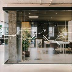 raam folie - (re) Pinned by INinterieurs. Modern Office Design, Office Interior Design, Office Interiors, Glass Film Design, Glass Office, Office Branding, Workspace Design, Signage Design, Window Film