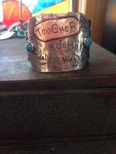 LEATHER CUFF  Tougher Than John Wayne by BraidsBrandsBling on Etsy