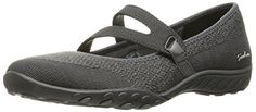 Skechers Sport Women's Breathe Easy Lucky Lady Mary Jane Flat, Charcoal Knit Mesh/Gray Trim, 7 M US *** Check out the image. Amazon Affiliate Program's Ads.