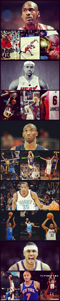 MJ, King James, Kobe, melo in that order Basketball Is Life, Basketball Pictures, Sports Pictures, Basketball Players, Air Max 2009, Air Max Thea, Kobe Lebron, Lebron James, Michael Jordan