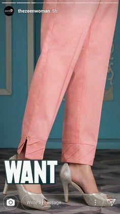 Pants design Button trousers outfit ideas for women. Kurti Sleeves Design, Kurta Neck Design, Salwar Designs, Kurta Designs Women, Silk Kurti Designs, Salwar Pants, Plazzo Pants, Trousers Women, Pants For Women