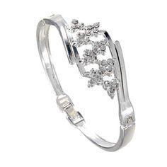 Silver plated rhinestone flower cuff bracelet bangle for women bracelets osrs #7 #gold #bracelets #bracelets #how #to #make #bracelets #using #embroidery #thread #u-bracelets