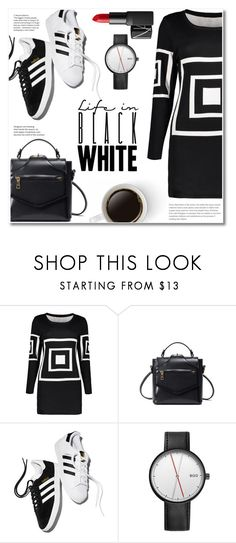 """Black & White"" by fshionme ❤ liked on Polyvore featuring adidas, NARS Cosmetics and black6white"