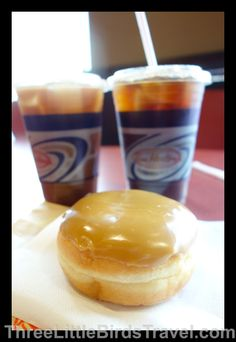 """Tim Hortons - Toronto's go-to coffee shop! I tried the """"Maple Donut"""" and iced coffee :)"""