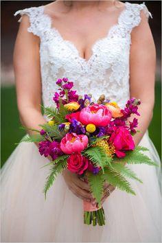 Bright wedding bouquet, fuchsia, yellow, purple, Bella Calla, Urban Safari,  Ranunculus, Coral Charm peony, roses, umbrella fern, stock, billy balls, sweetpeas, green raspberry