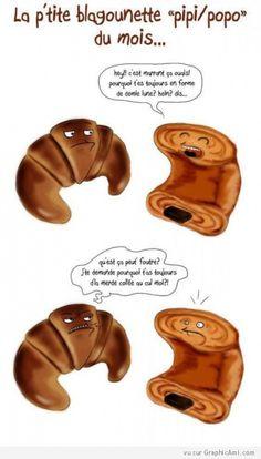 Blague entre un croissant et un pain au chocolat.