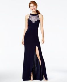 8a4a45de432 B Darlin Juniors  Jeweled Open-Back Halter Gown   Reviews - Dresses -  Juniors - Macy s