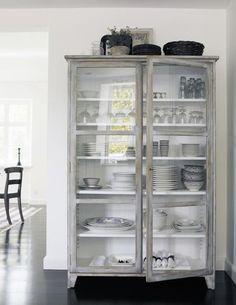 inspiration furniture ikea style shabby chic nordic style feminine styling interior decoration white decoration interior decoration dining rooms living rooms accessories home furnishings Glass Cabinet Doors, Glass Doors, Dish Cabinet, Glass Cabinets, Glass Shelves, China Cabinets, Display Cabinets, Cabinet Space, Crockery Cabinet