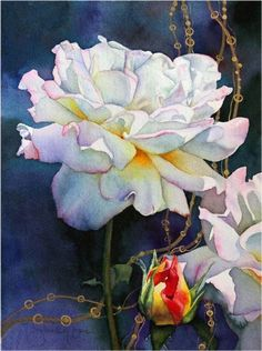 Lovely white roses - Jo-Neal Boic - Nipomo artist - watercolor