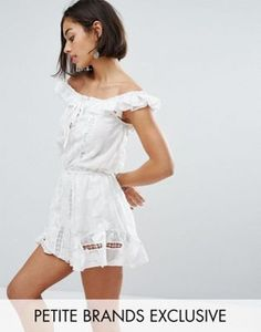 Sisters Of The Tribe Petite Bardot All Over Lace Romper Will Frill Detail