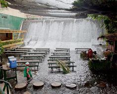 Restaurant Under Waterfall/ Cool!