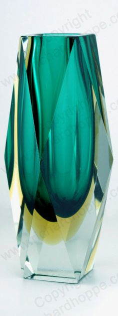 c.1960s-70s MURANO SOMMERSO GEOMETRIC GLASS VASE, PROBABLY SEGUSO.