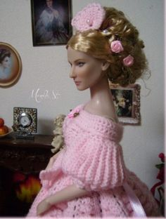 About Cate: Galadriel tonner doll. My romantic crochet gown.