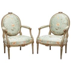 Pair of Louis XVI Style Fauteuils a La Reine | From a unique collection of antique and modern armchairs at https://www.1stdibs.com/furniture/seating/armchairs/