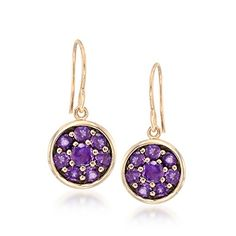 1.70 ct. t.w. Amethyst Circle Cluster Drop Earrings in 18kt Gold Over Sterling