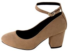 LAYLA TAUPE ALMOND TOE EXTENDED ANKLE SINGLE STRAP CHUNKY HEEL ONLY $10.88