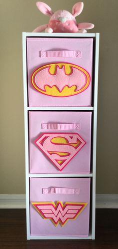 perfect for your superhero nursery or girls bedroom pink superhero logo bin