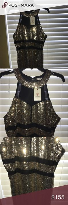 Sequined Guess dress - New with tags - Gold & Blk Sequined Guess dress - New with tags - XL runs small Guess Dresses Mini