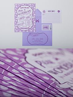 Alice in Wonderland shower invites are perfect for a wedding tea party. Designed with images of keys, a white rabbit, horseflies & pocket watch. Purple Wedding Stationery, Whimsical Wedding Invitations, Alice In Wonderland Invitations, Alice In Wonderland Wedding, Tea Party Invitations, Purple Wedding Invitations, Bridal Shower Invitations, Custom Invitations, Purple Wedding Decorations