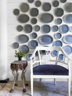 Collection of vintage plates in ombre effect
