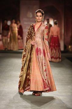Anju Modi at India Couture Week 2014 - red pink long anarkali