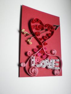Love this! How very creative!  Quilled Paper Art  Love Heart and Arrow by SVaethDesigns on Etsy, $29.00