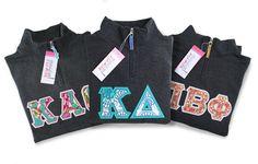 Sorority Letter 1/4 Zip Sweatshirt