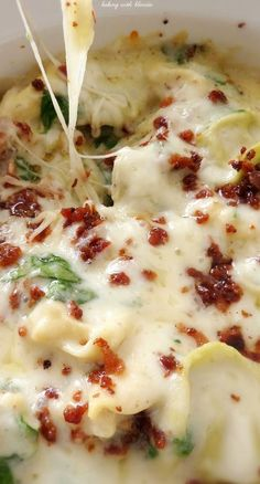 Tortellini Spinach Bake in Creamy Lemon Sauce Recipe - tried this and all the kids liked it. It was easy to make