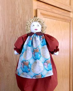 Plastic Bag Holder, Kitchen Doll, World Globe, Rust and Teal Kitchen Decor, Grocery Bag Dispenser Doll, Blonde Hair Doll, Recycle Container