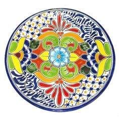 The best collection of talavera plates imported from mexico, fine mexican pottery. Painted Clay Pots, Painted Plates, Hand Painted Ceramics, Pottery Painting, Ceramic Painting, Ceramic Art, Pottery Plates, Ceramic Plates, Decorative Plates