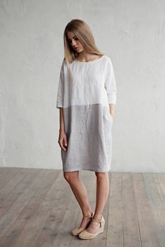 Etsy Loose fitted linen dress. Colour block dress. White and gray linen tunic. Washed linen clothing for