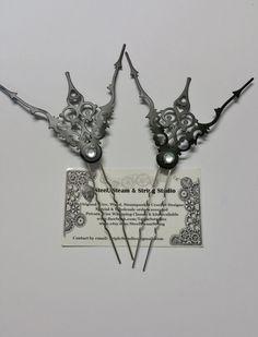 71360ed3e1d Handmade Hair pin clock hands black silver rhinestone hair accessory  steampunk victorian gothic set of 2