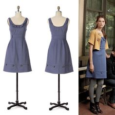 """Anthropologie """"Familiar Places"""" Dress A comforting brass-studded wool shift from Moulinette Soeurs, hued of lavender storm clouds. Side zip  Wool, viscose, spandex; acetate  Dry clean  Regular: 37""""L  Petite: 34""""L  Imported   Style No. 830126 Anthropologie Dresses"""