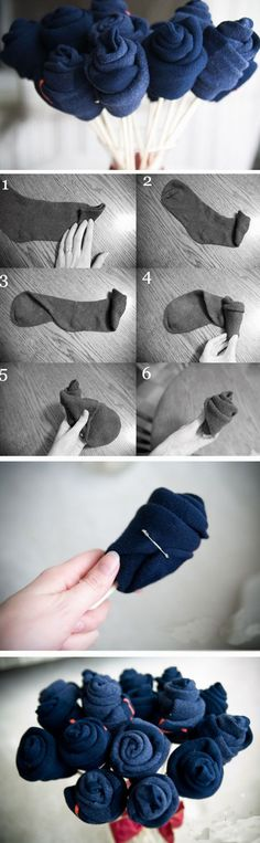 Sock Bouquet | Click Pic for 22 DIY Christmas Gifts for Boyfriends | Handmade…