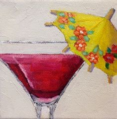 """Cocktail Umbrella by Pat Doherty Oil ~ 5"""" x 5"""""""