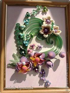Картина панно рисунок Квиллинг И опять они-любимые орхидеи Бумажные полосы фото 2