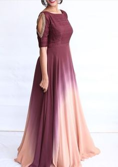 Beautiful Shaded Crepe Gown with beautiful embroidery on sleeves. Source by letitiaanthiaep gowns indian Gown Dress Party Wear, Party Wear Frocks, Party Wear Indian Dresses, Long Gown Dress, Designer Party Wear Dresses, Indian Gowns Dresses, Indian Bridal Outfits, Indian Fashion Dresses, Indian Designer Outfits
