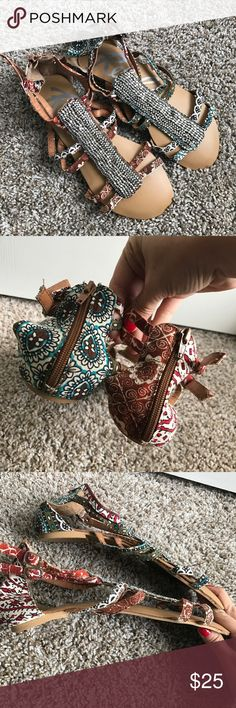 Rebels Embellished Multi-Color Gladiator Sandals Worn once. Bottoms are pushed up, inward (see photo). Does not affect wear. No beads missing. Purchased from The Buckle. rebels Shoes Sandals