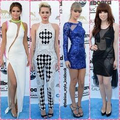 06410c887787 BILLBOARD MUSIC AWARDS is wearing an Atelier Versace dress   Jimmy Choo  shoes ◁Miley is wearing Balmain Jumpsuit   Givenchy shoes◁Taylor is wearing  a ...