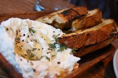 appetizer: crostini with ricotta and truffle honey #saveur #dinnerparty