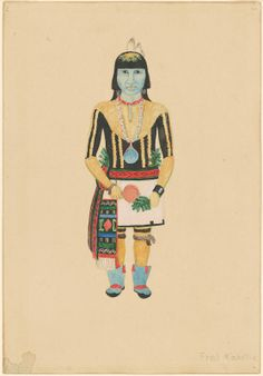 """Fred Kabotie, """"Male Hopi,"""" c. gouache over graphite on wove paper Native American Heritage Month, National Gallery Of Art, Art Object, American Indians, Gouache, Princess Zelda, Graphite, Artists, Fictional Characters"""