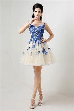 A-Line Princess Jewel Short Mini Tulle Lace Prom Dress - Party dresses outlet