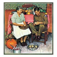 """""""Home for Thanksgiving"""", November 24,1945 Giclee Print by Norman Rockwell at AllPosters.com"""