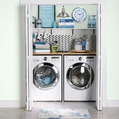 Make a closet laundry space work harder and look better by surrounding the washer and dryer with smart solutions. Laundry Closet Makeover, Laundry Room Storage, Laundry Room Design, Laundry Rooms, Garage Laundry, Storage Room, Room Interior, Interior Design Living Room, Living Room Designs