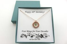 40th Birthday Gifts for Women, Rose Gold Birthstone Necklace, 40th Birthday Gift, Rose Gold Necklace, Four Rings Necklace, Birthday Jewelry Happy Birthday Grandma, Happy 40th Birthday, Birthstone Necklace, Gold Necklace, Knot Necklace, 40th Birthday Gifts For Women, Work Anniversary, Rose Gold Jewelry, Sister Gifts