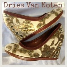 Dries Van Noten Off White, Brown And Gold Wedges $249