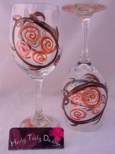 2 Hand Painted Earth Tone Turtle Wine Glasses | eBay