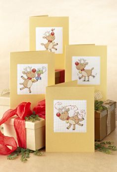 Lucie Heaton's reindeers make perfect greetings cards! http://www.myfavouritemagazines.co.uk/stitch-craft/cross-stitch-collection-magazine-back-issues/cross-stitch-collection-xmas-13/