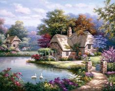 Sung Kim Swan Cottage I painting for sale, this painting is available as handmade reproduction. Shop for Sung Kim Swan Cottage I painting and frame at a discount of off. Belle Image Nature, Penny Parker, Cottage Art, Painted Cottage, Cottage Gardens, Rose Cottage, Thomas Kinkade, Ribbon Art, Silk Ribbon Embroidery